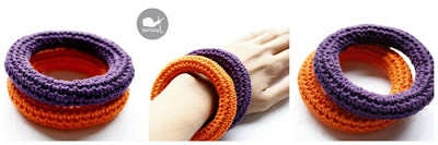 Satckable crochet bangles in halloween colors