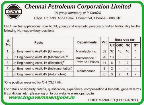 Chennai Petroleum Corporation Ltd CPCL Recruitments (www.tngovernmentjobs.in)