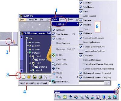 toolbars menus for 3d modeling software catia