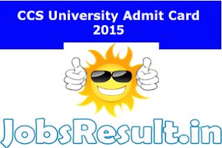 CCSU Entrance Admit Card 2015