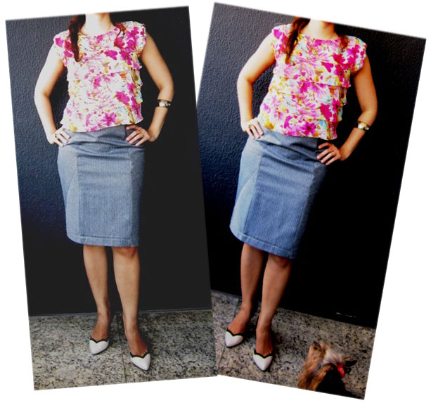 moda estilo corte costura saia lápis blusa trabalho look do dia
