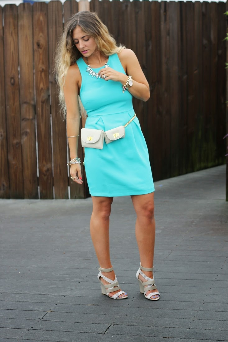 Bright Teal Cocktail Dress - Erin Dana Evan Belt Bag