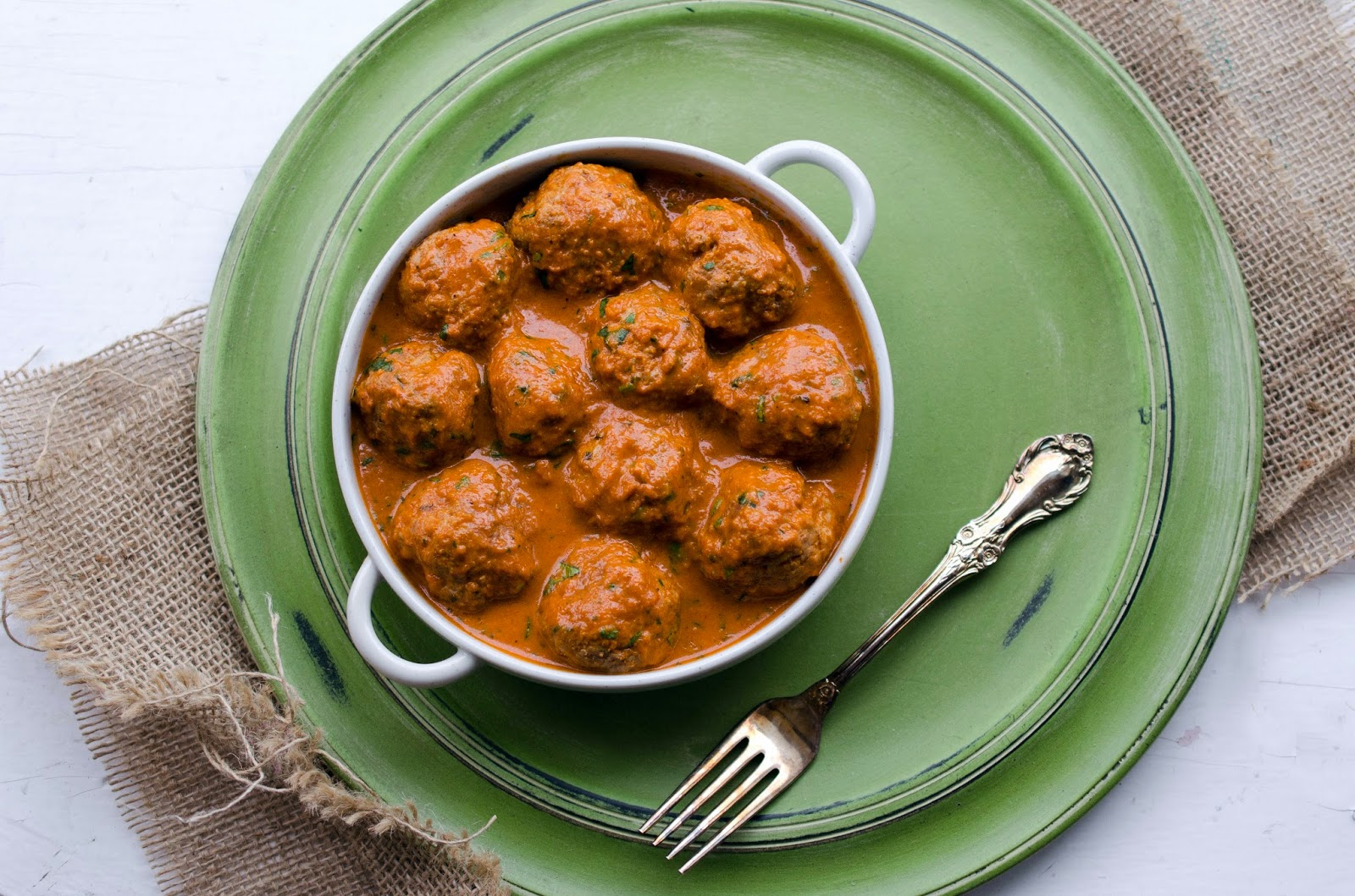 turkey kofte/ kofta (turkey meatballs in a spiced tomato cream sauce)