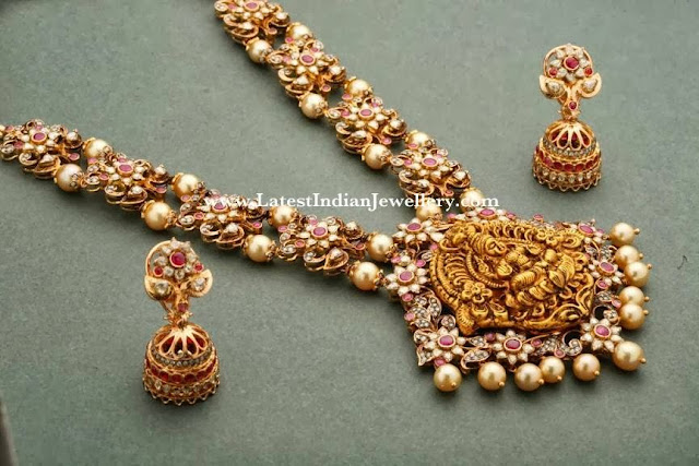 Heavy Pachi Diamond Temple Jewellery