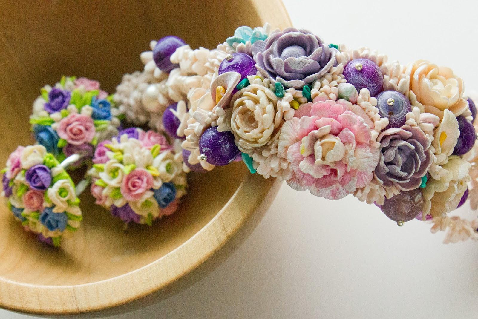 браслет из полимерной глины с цветами