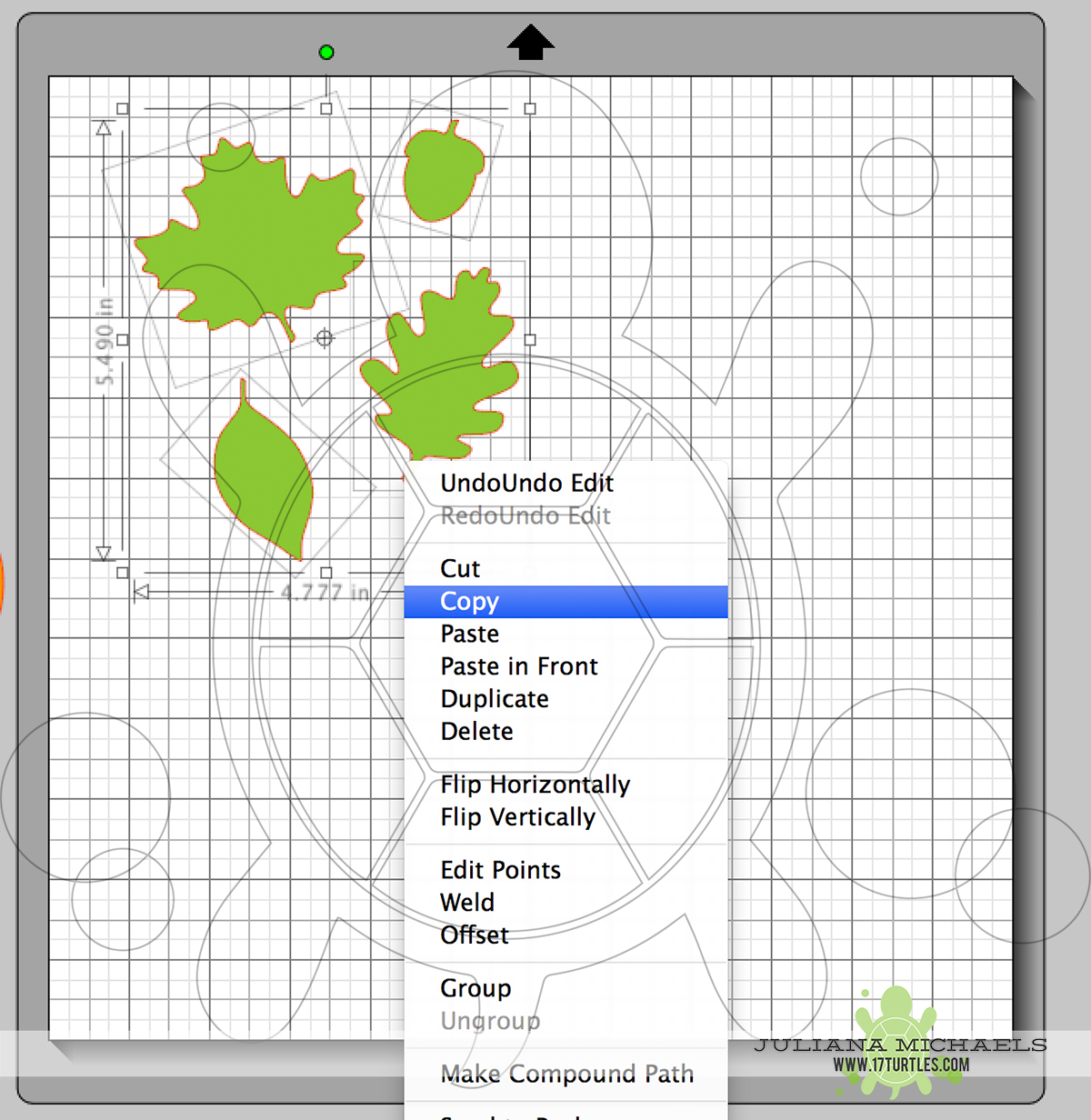 Copying images of a Digital Cut File Leaves & Acorn by Juliana Michaels 17turtles