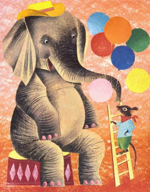 circus elephant with balloons illustration by Leonard Weisgard