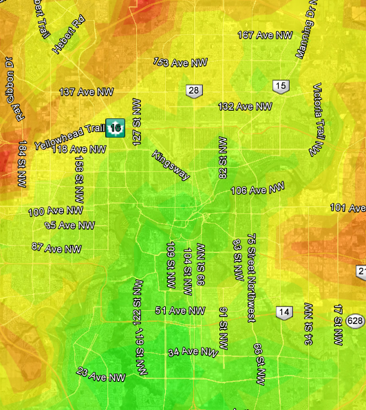 Edmonton Transit heat map based on Century Park LRT