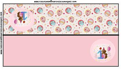 Etiqueta para bolsas de golosinas para fiesta de Primer Año de nena.