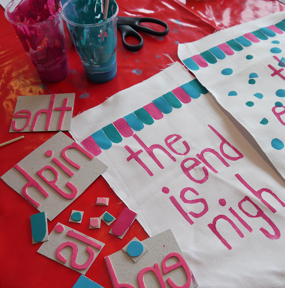Craft Sunday, crafting, diy, Dundee, DCA, Dundee Contemporary Arts, Nikki McWilliams, workshop, craft workshop, fabric banners, decoration, printing, fabric printing, the end is nigh
