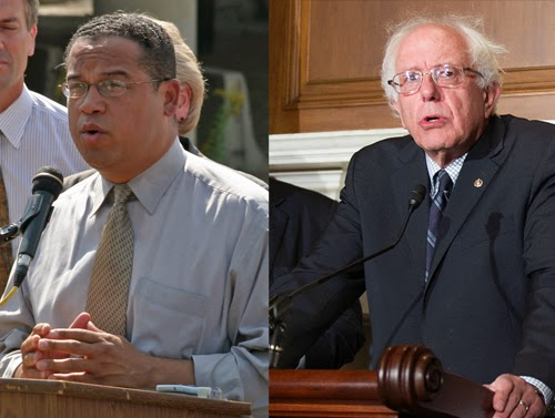 'Progressive' politicians like congressman Keith Ellison (right) and senator Bernie Sanders will stand up to almost anyone - but not Israel. (Left Photo from Keith Ellison; Right Photo from Senate Democrats)