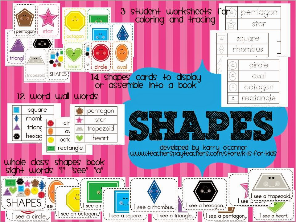 https://www.teacherspayteachers.com/Product/SHAPES-flashcards-wall-display-big-book-worksheets-word-wall-words-362200
