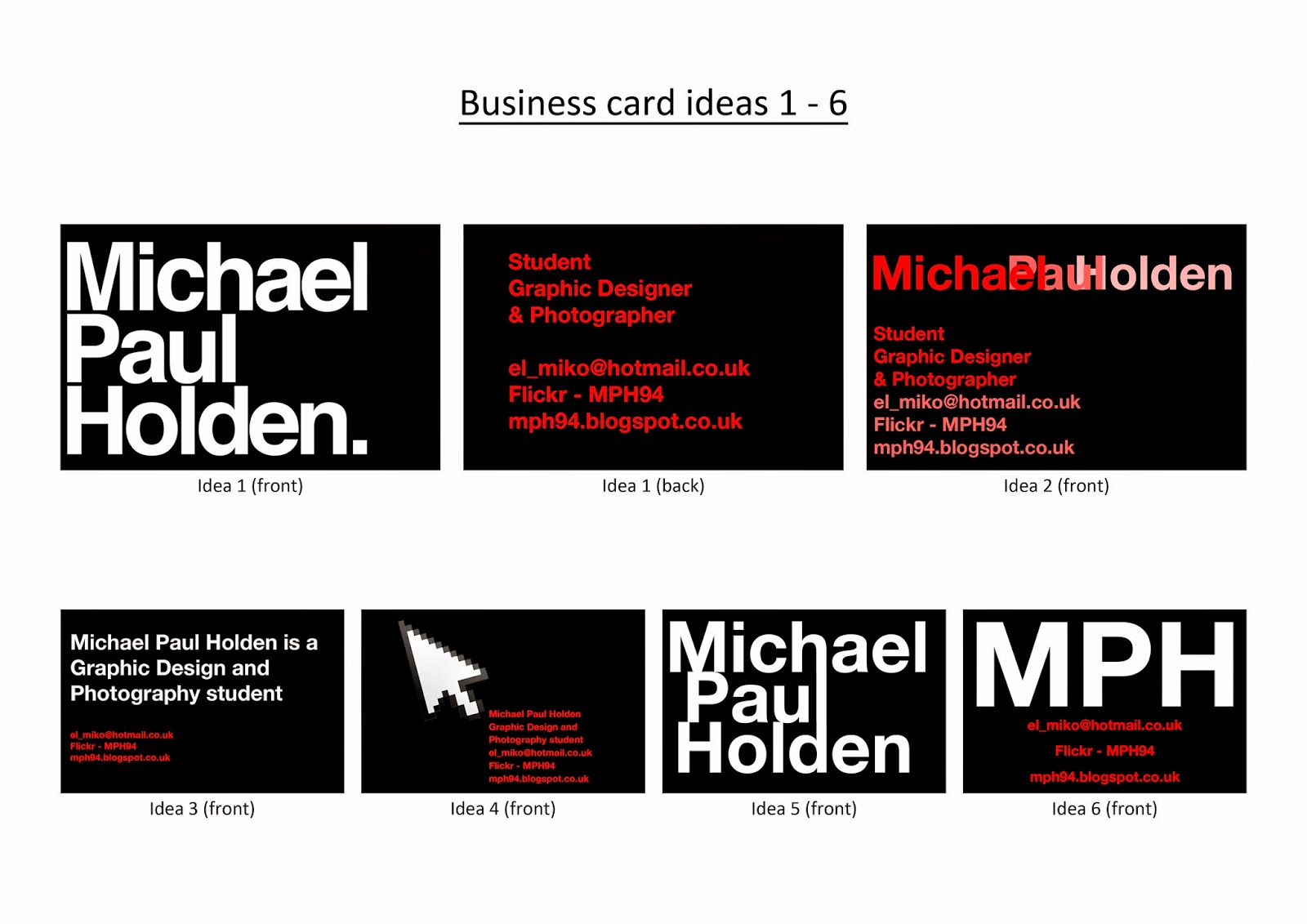 Michael Paul Holden - Graphic Design and Photography student ...