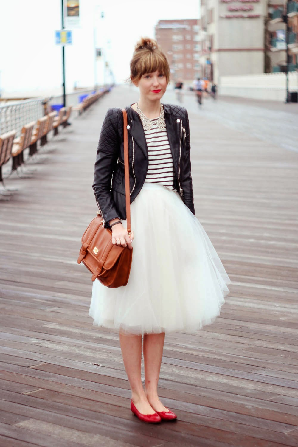 long beach boardwalk, leather jacket, forever 21 striped shirt, alexandra grecco skirt