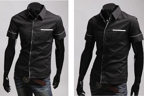 camisas slim fit preta