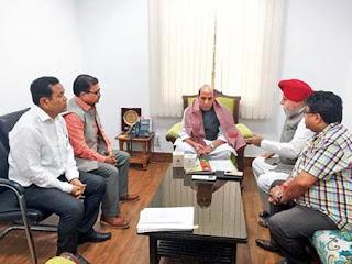 Morcha delegation with Rajnath Singh in Delhi