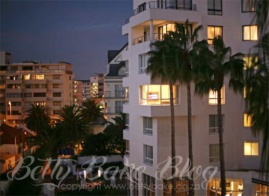 rooms, palm trees, hotel, protea hotel, lights on in rooms, The president hotel, Cape Town, Bantry Bay, Betty Bake Blog