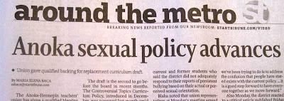 Star Tribune headline, Anoka sexual policy advances