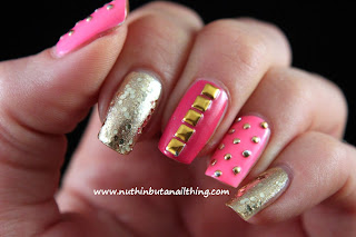 sinful colors pink studded nails