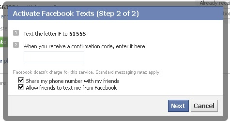 Activate Facebook Texts