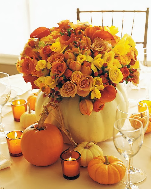 Beautiful Pumpkin Flower Pot with candles around
