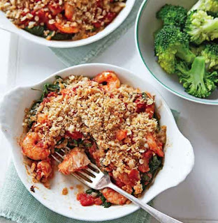 Oaty fish and prawn gratins