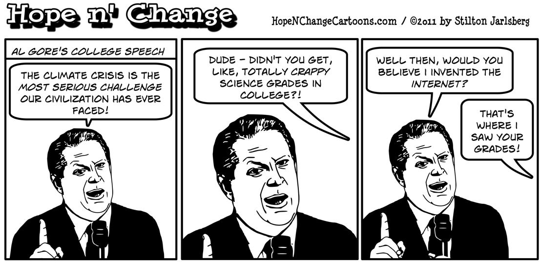 Al Gore tells a college class that climate crisis is biggest challenge ever to civilization, hopenchange, hope and change, hope n' change, stilton jarlsberg