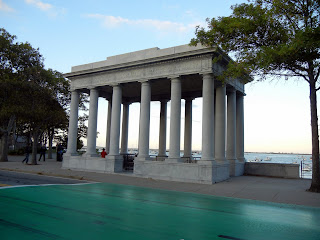 The Plymouth Rock Memorial in Plymouth Memorial State Park in Massachusetts