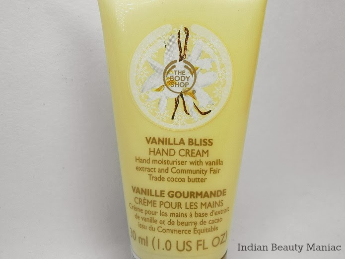 The Body Shop Vanilla Bliss Hand Cream closeup of packing