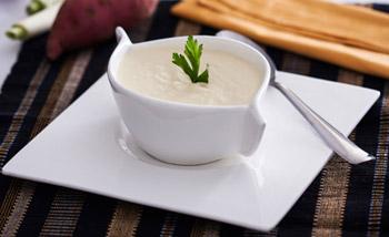 Receita de Sopa de batata-doce com alho-poró