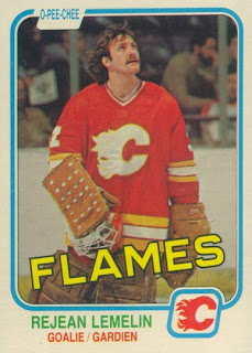 rejean lemelin o-pee-chee rookie hockey card calgary flames