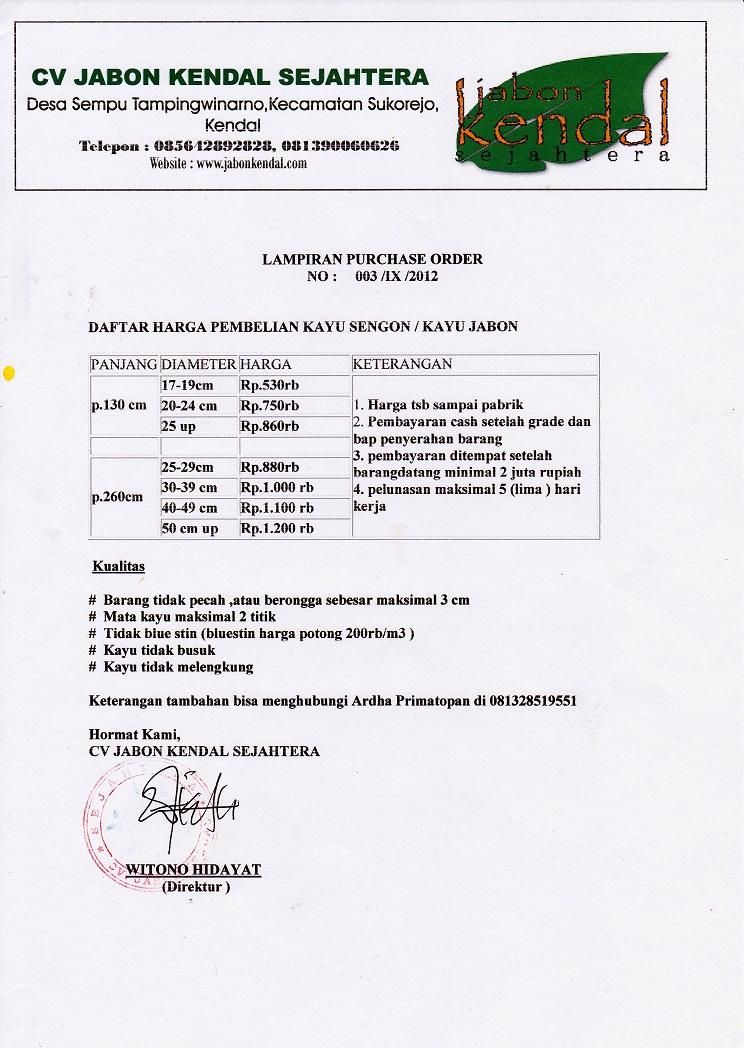 Jabon Kendal Surat Po Pembelian Kayu Jabon Dan Sengon