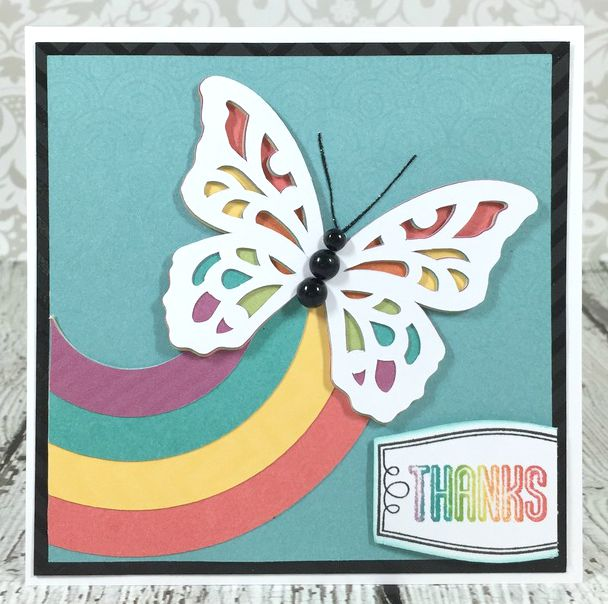 Cricut Artistry Rainbow butterfly card