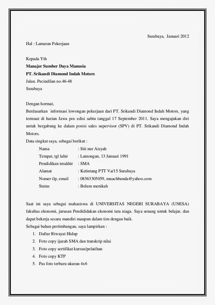 contoh application letter bahasa inggris fresh graduate