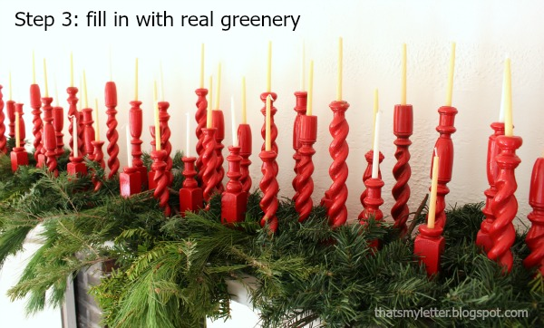 repurposed railing spindles Christmas decor