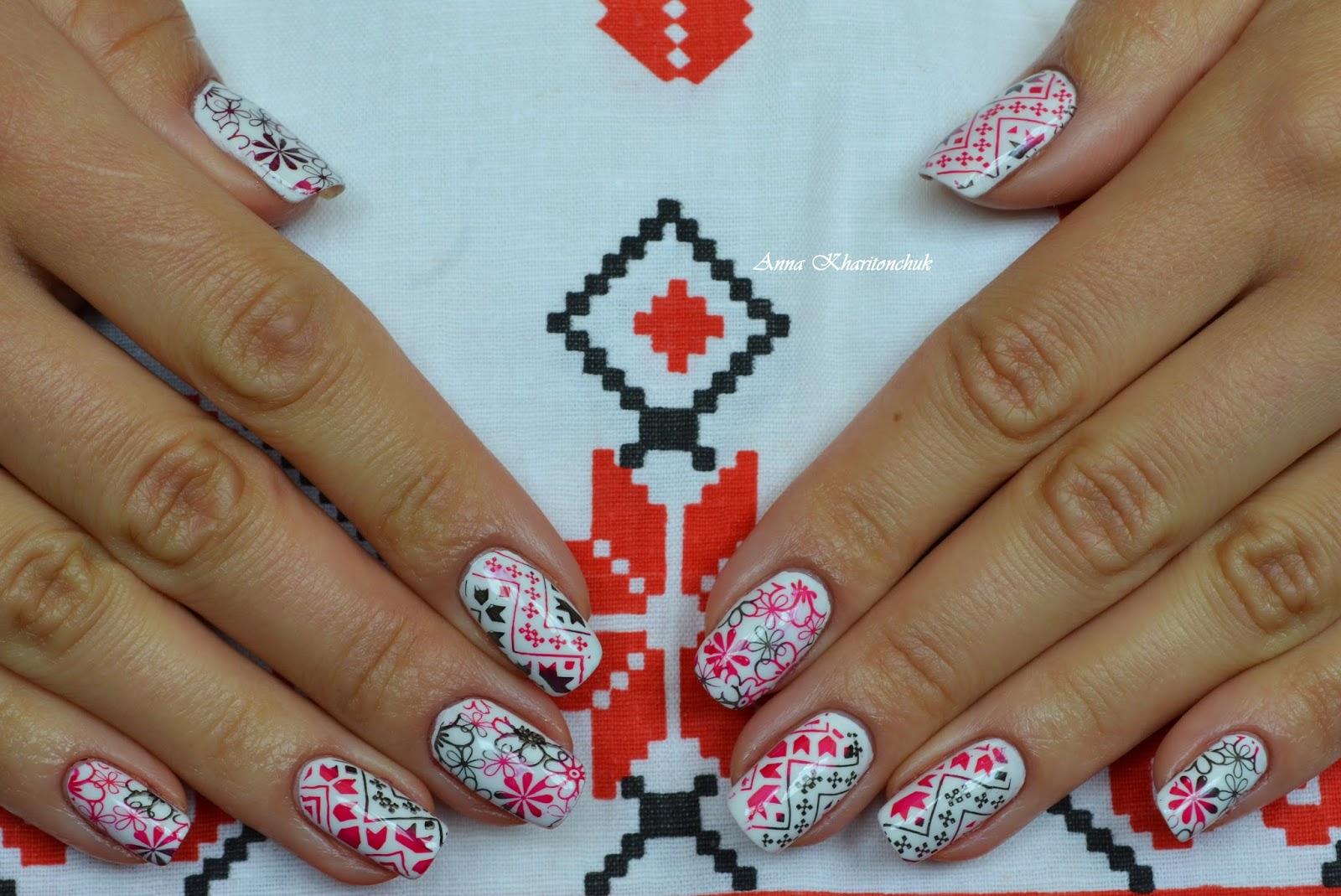Украинская символика на ногтях фото