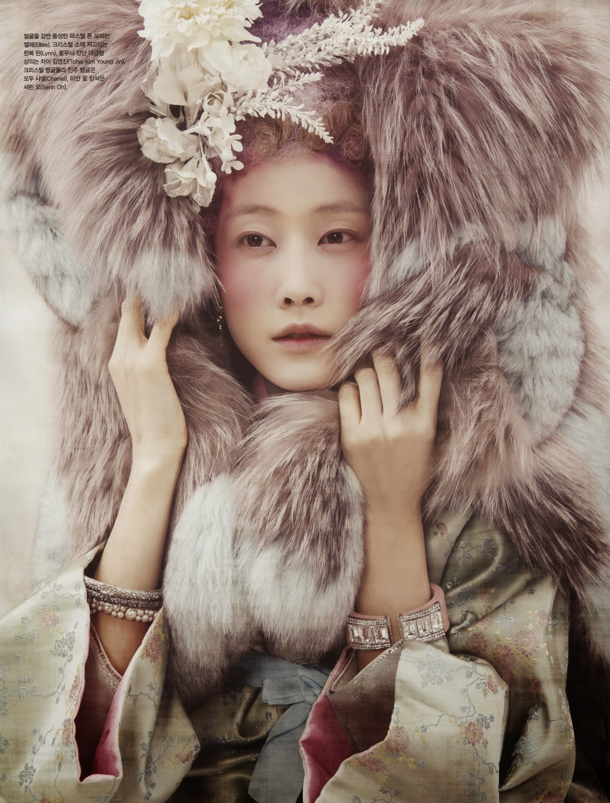 Magazine Photoshoot : Powdery Flower Photoshot by Koo Bon Chang Vogue Magazine Korea January 2014 Issue