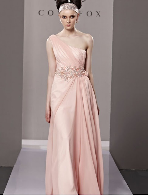 Satin and Chiffon One-Shoulder Sheath Stock Dress with Beaded Appliqued Waistline