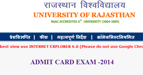 University Of Rajasthan Time Table Admit Card 2014