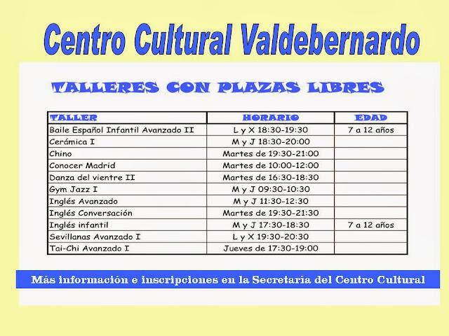 Vacantes noviembre 2013 talleres CC Valdebernardo