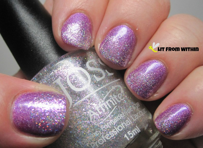 Joss In A Violet Haze.  This is a white glitter holo with a purple shimmer.