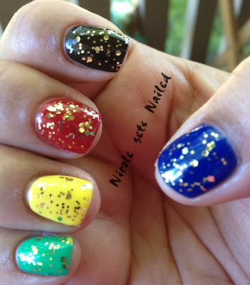 Olympic Manicure Nails Gold Glitter