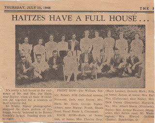 Haitz Family in The Ripley Bee, 1946