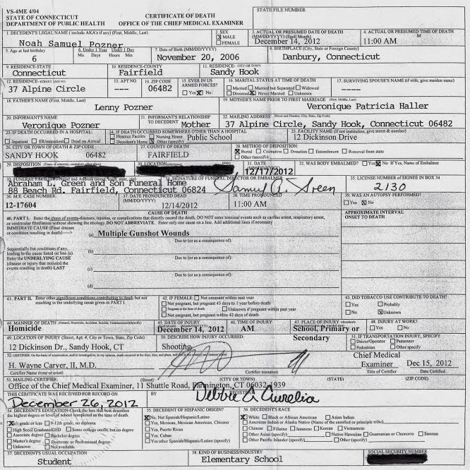 Sandy Hook- Facts & Research: Noah Pozner Death Certificate Released