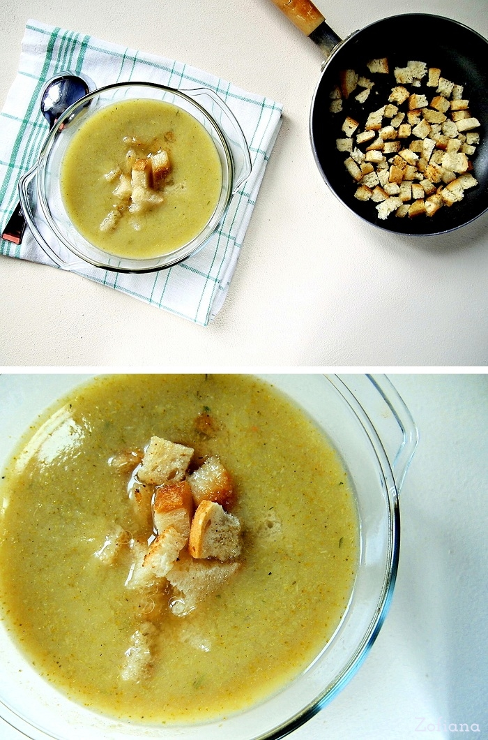 Cream of Broccoli Soup with Roasted Garlic croutons