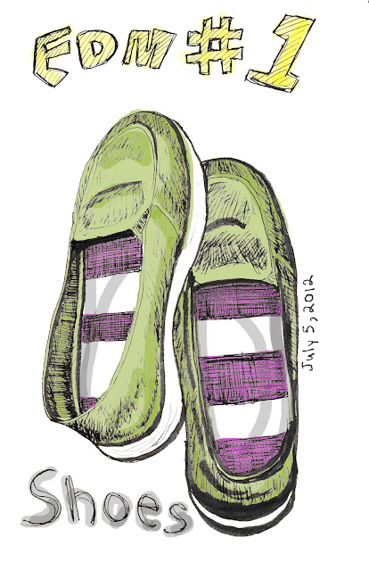 EDM 1 - Draw your shoes. Shoes, pen and ink with digital colour by Ana Tirolese ©2012