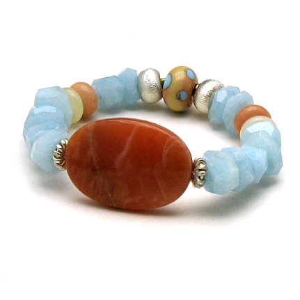 Aquamarine and Sunstone Bracelet