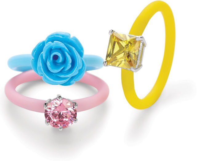 Tanya Rossi 'Silli is Sexy' Collection Silicon Band Sterling Silver Rose shaped Rings