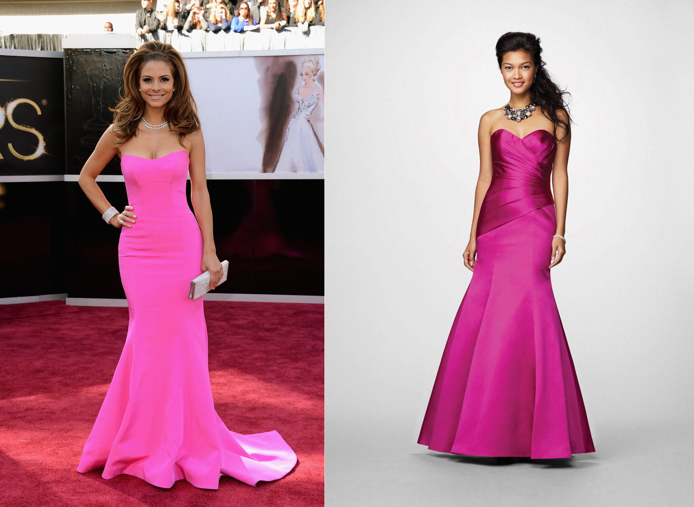 Tj formal dress blog february 2013 and simple but elegant bright pink mermaid style is worn by maria menounos this alfred angelo bridesmaids dress 7168 is our match ombrellifo Images