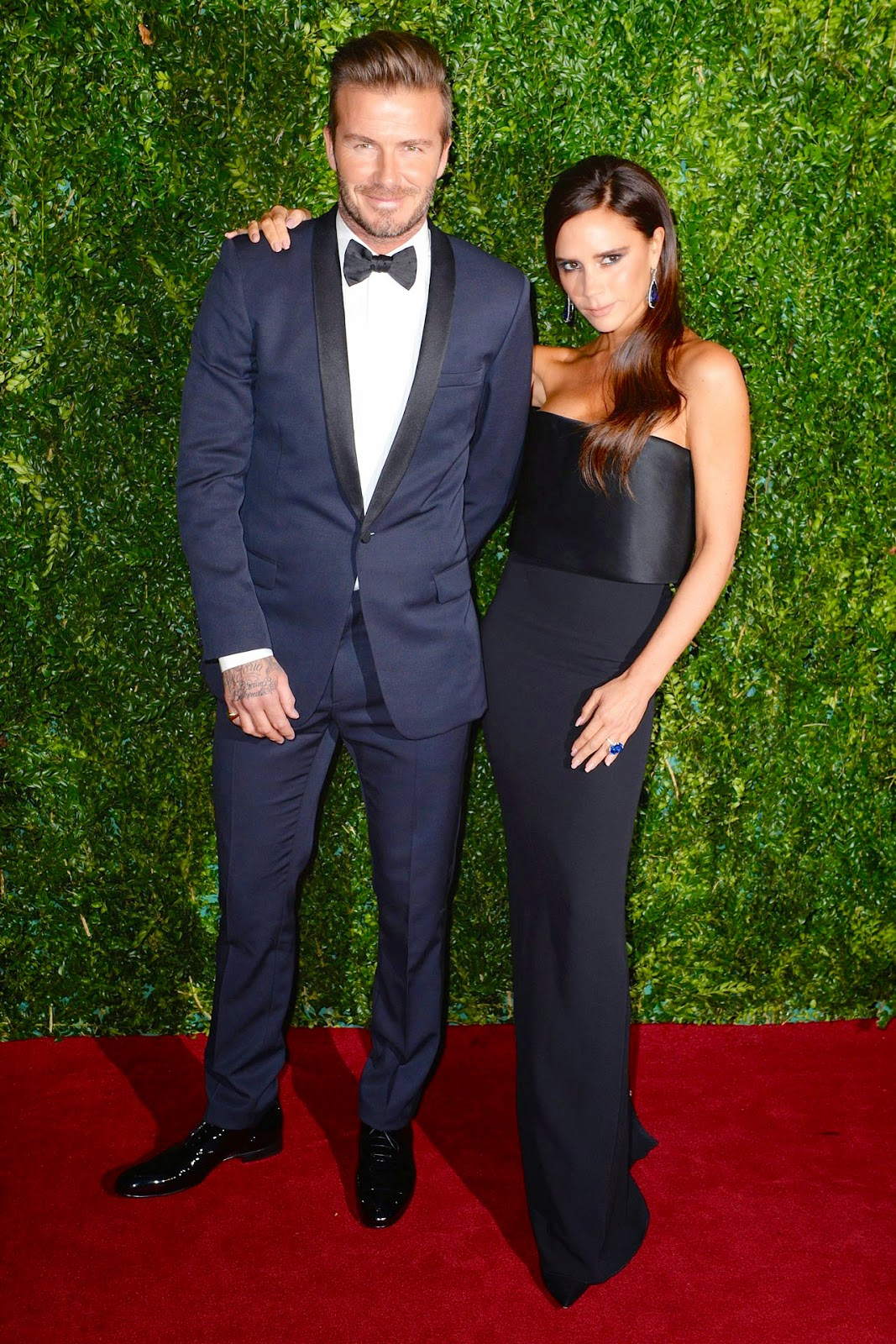 David Beckham wears Dior Homme tuxedo to 60th Evening Standard Awards Theatre Awards 30th November 2014 London